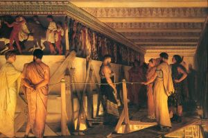 Phidias Showing the Frieze of the Parthenon to his Friends Pericles and Aspasia (1868) by Sir Lawrence Alma-Tadema