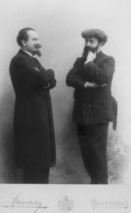 Photograph of Péladan (right) and the Romanian writer Alexandru Bogdan-Piteşti, during a visit to Bucharest