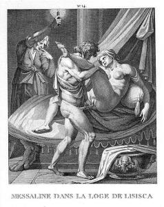 Messalina working in a brothel. Etching by Agostino Carracci, late 16th century